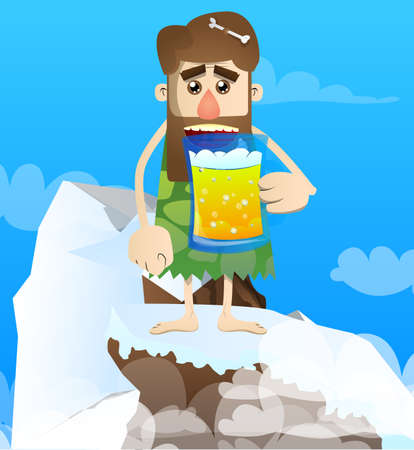 Cartoon prehistoric man drinking beer. Vector illustration of a man from the stone age.