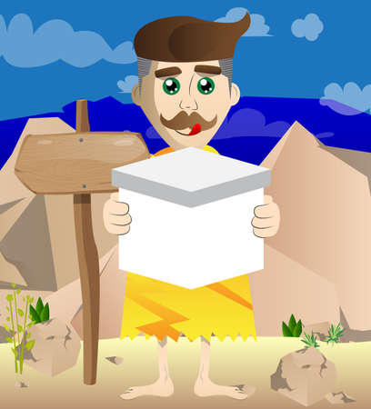 Cartoon prehistoric man holding white box. Vector illustration of a man from the stone age.