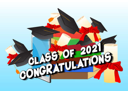 Class of 2021 Congratulations. Online Virtual Graduation. Video Conference with smartphone. College University or High School Graduation ceremony from home. Vektorgrafik