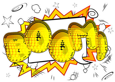 Comic book Boom word effect on bright abstract background. Vector cartoon illustration in retro pop art style. Comics text sound effects.