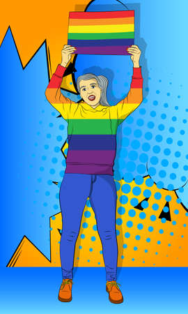 Senior woman holding LGBTQ+ colored banner. Gay person celebrating diversity. Vector comic book style illustration.