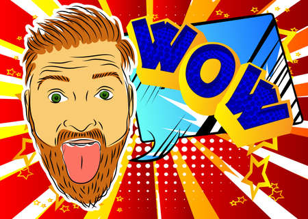 Handsome man making faces and sticking out his tongue over colorful background. Happy Caucasian with funny expression. Vector illustrated expression, rudeness and people concept.