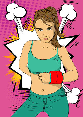 Woman exercise with wrist weights. Vector comic book illustration of a girl in sportswear doing workout.
