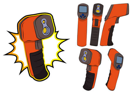 Collection of a handheld non-contact digital infrared thermometer gun. Set of vector illustrated comic book style modern temperature measurement device.