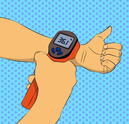 Touchless temperature check. Vector illustrated comic book style body temperature measurement with infrared wrist thermometer. 일러스트