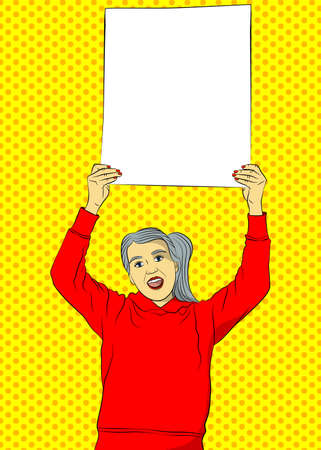 Senior woman holding up blank advertising board or big white paper. Comic book illustrated female on a strike. Vector beautiful grandmother with copy space.
