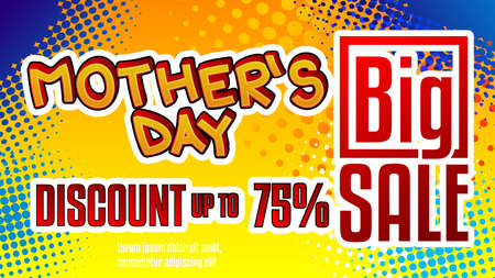 Mother's Day Discount - Comic book style text. Holiday promotion event related words, quote on colorful background. Poster, banner, template. Cartoon vector illustration.