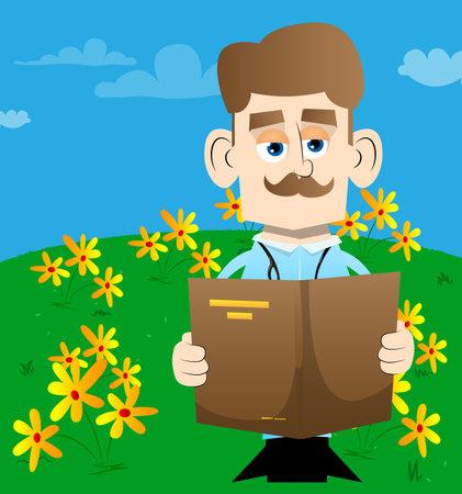 Funny cartoon doctor reading a book. Vector illustration.