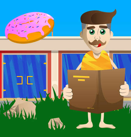Cartoon prehistoric man reading a book. Vector illustration of a man from the stone age.