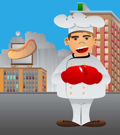 Fat male cartoon chef in uniform holding his fists in front of him ready to fight wearing boxing gloves. Vector illustration. 일러스트