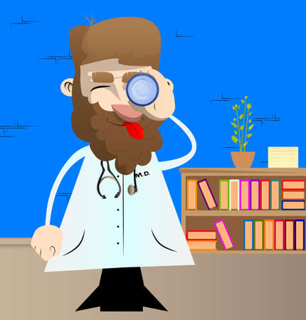 Funny cartoon doctor holding binoculars in his hand. Vector illustration. Health care worker searching, looking for something. 向量圖像