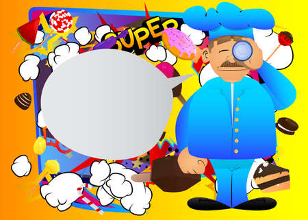 Fat male cartoon chef in uniform holding binoculars in his hands. Vector illustration. Cook Searching. 向量圖像