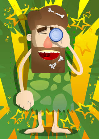 Cartoon prehistoric man holding binoculars in his hand. Vector illustration of a man from the stone age.