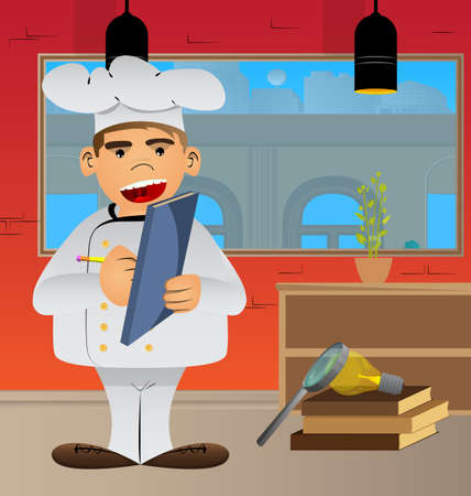 Fat male cartoon chef in uniform writing on a books cover. Vector illustration. Cook with a notebook taking notes.