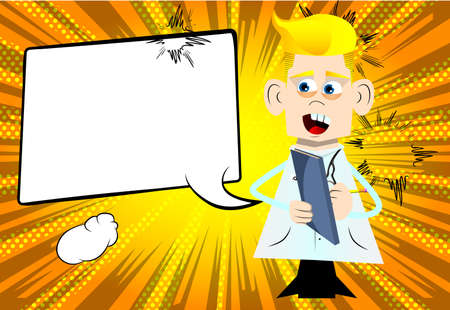 Funny cartoon doctor writing on a books cover. Vector illustration. Health care worker with a notebook taking notes.