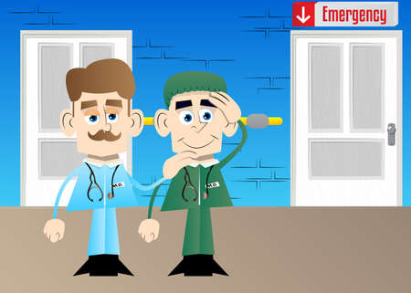 Funny cartoon doctor comforting another. Vector illustration.  Health care worker consoling his partner. 向量圖像