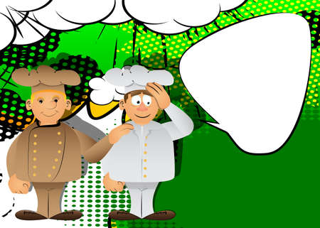 Fat male cartoon chef in uniform comforting another. Vector illustration. Cook consoling his partner. 向量圖像
