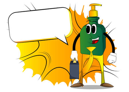 Cartoon bottle of hand sanitizer gel for hygiene with face as boss with suitcase or bag and tie. 向量圖像