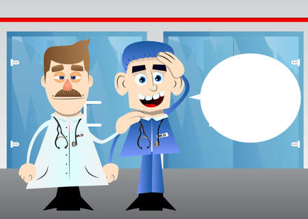 Funny cartoon doctor comforting another illustration.  Health care worker consoling his partner. 版權商用圖片