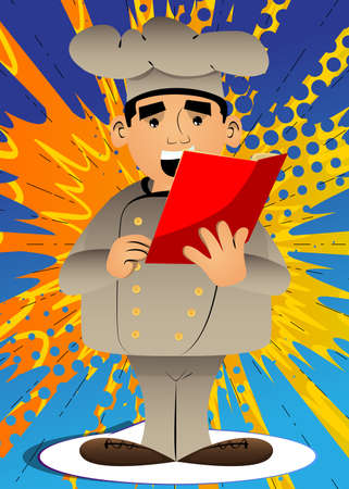 Fat male cartoon chef in uniform reading a red book. Vector illustration. Cook holding a magazine, diary, brochure.