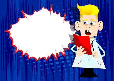 Funny cartoon doctor reading a red book. Vector illustration. Health care worker holding a magazine, diary, brochure.