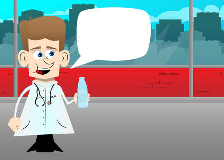 Funny cartoon doctor holding a glass of water. Illustration. Health care worker with  a bottle.