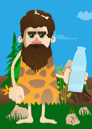 Cartoon prehistoric man holding a glass of water, bottle of fresh drink. Vector illustration of a man from the stone age.