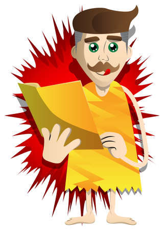 Cartoon prehistoric man reading a book, holding a journal, magazine, brochure in his hand. Vector illustration of a man from the stone age.