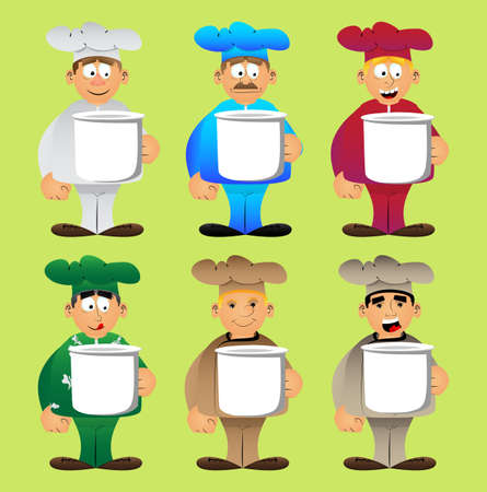Fat male cartoon chef in uniform holding big mug. Vector illustration. Cook or baker with a huge cup.