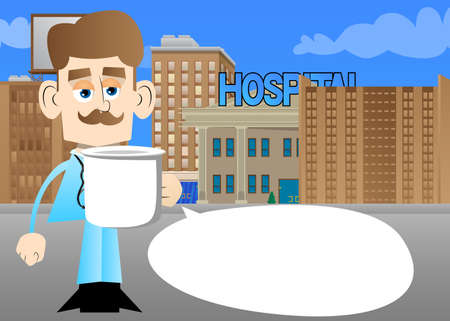 Funny cartoon doctor holding big mug. Vector illustration. Health care worker with a huge cup.