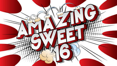 Amazing Sweet Sixteen text on comic book background. Retro pop art comic style social media post, motion poster for the 16th birthday.
