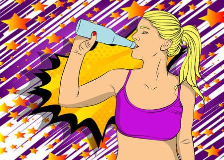 Beautiful female drinking water at gym taking a break from workout. Caucasian fitness woman. Comic book style vector illustration. Vektoros illusztráció