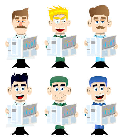 Funny cartoon doctor reading the news. Vector illustration. Health care worker holding a big newspaper. Vettoriali