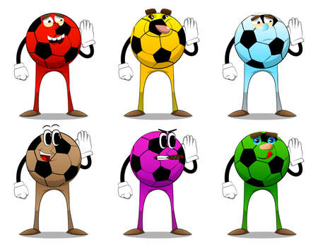 Soccer ball holds hand at his ear, listening. Traditional football ball as a cartoon character with face.