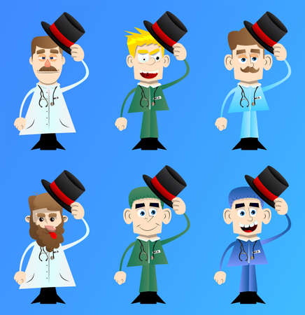 Funny cartoon doctor tipping his hat. Vector illustration.