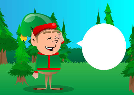 Christmas Elf holds hand at his ear, listening. Vector cartoon character illustration of Santa Claus's little worker, helper.