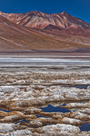 Dried salt deposits at Siloli Bolivia with high mountain backdrop and still water in the wetland scenery
