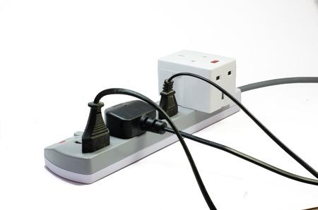 electric socket: Three way electric socket isolated on white background Stock Photo