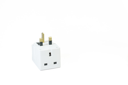 Three way electric socket isolated on white background Stok Fotoğraf