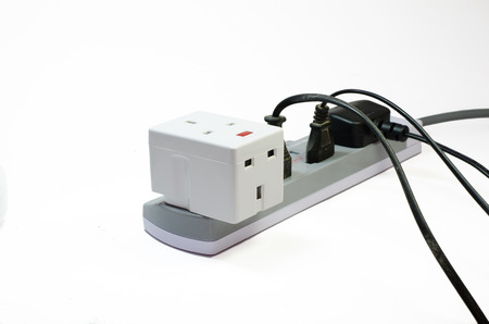 prongs: Three way electric socket isolated on white background Stock Photo