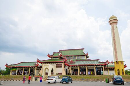 Mosque with chinese architecture located in Kelantan, Malaysia Editorial