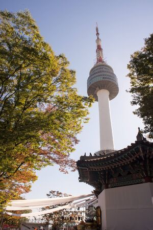 View of Seoul Tower during autumn with red maple leaf. This structure located at Namsan Mountain and one of tourist attraction landmark to visit.
