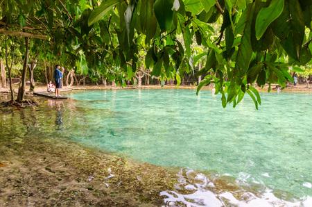 Man capturing picture of beautiful tropical water lake at Emerald Pool, Krabi.