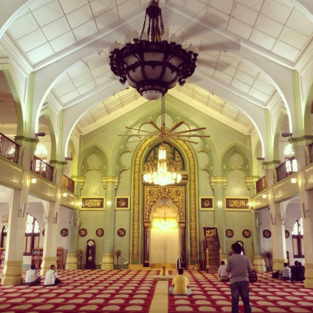 interior: Interior of a beautiful mosque in Singapore Sultan Mosque.
