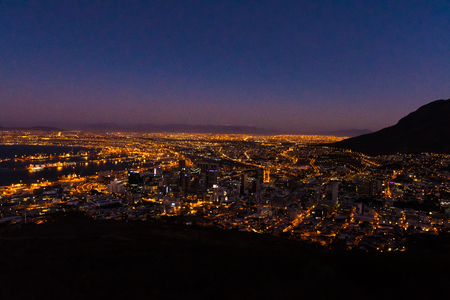 view over Cape Town at night