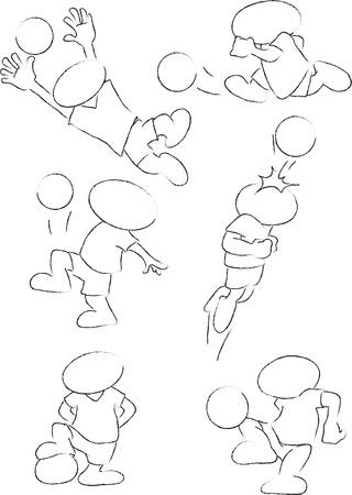 fend: Illustrazione disegnata a mano del calciatore Vettoriali