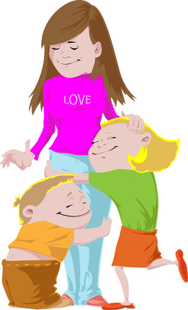 Children are embracing each other with love