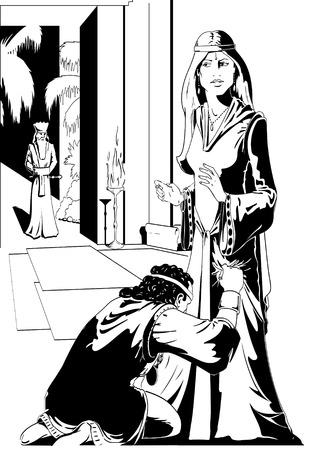 rey caricatura: La reina Ester y Am�n de la Biblia Vectores