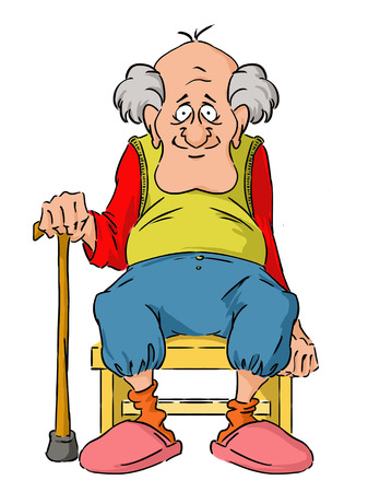 dugout: Nice elderly Grandpa is sitting on a small stool.