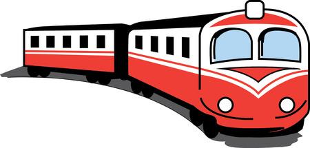 Kleine rode trein bonzen op het platteland.
